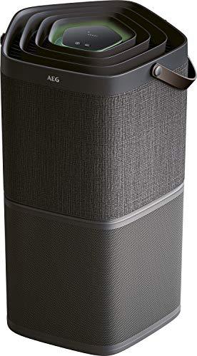 AEG AX91-404DG Luftreiniger (Beseitigt 99,9{4855b95501f2e7aedcda19df975d6b8504773a87ce0869a4f9f124d3195838a5} luftgetragener Bakterien, nur 17 dB(A), Automatik-Modus, Luftqualitätsanzeige, leistungsstarke Filter, App-Steuerung, bis 92 m² Raumgröße, dunkelgrau)