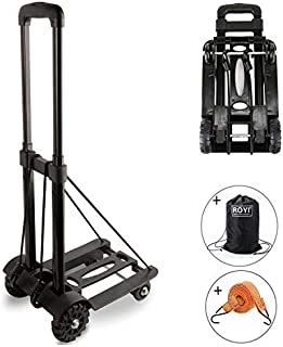 Folding Hand Truck, 70 Kg/155 lbs Heavy Duty 4-Wheel Solid Construction Utility Cart Compact and Lightweight for Luggage, Personal, Travel, Auto, Moving and Office Use - Portable Fold Up Dolly by ROYI