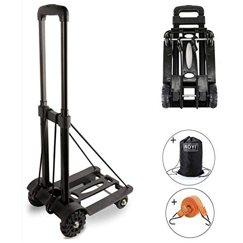 Folding Hand Truck, 70 Kg/155 lbs Heavy Duty 4-Wheel Solid Construction Utility Cart Compact and...