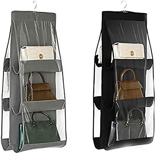 LXTaoler - Organizer da appendere per borsa, 2 pezzi, 6 tasche, antipolvere, per armadio, armadio, salvaspazio, lavabile (nero+grigio)