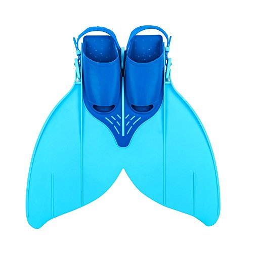 Monopalme de sirène Palmes de Natation enfants Confortable Tail réglables Palmes d'entraînement pour enfants Taille 34-40, 215 mm-240 mm ChaussuresBleu/Jaune