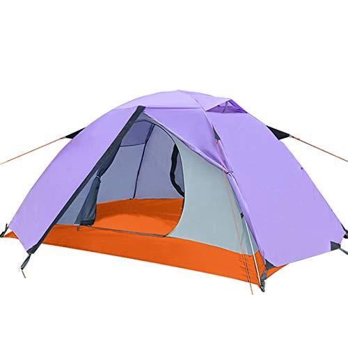 Tienda de Campaña 2 personas campadas de campaña para recreación al aire libre Doble Capa 4 temporadas Senderismo Pesca Carpas de playa para Camping Garden ( Color : Purple , Size : 200x140x100cm )