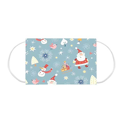 mzDkc0d Kinder Weihnachten Einweg Mundschutz Multifunktionstuch Cute Kinder Weihnachten Bedruckte Maske Weiche Atmungsaktive 3-lagig Vlies Staubdicht Mund-Nasenschutz Bandana Halstuch