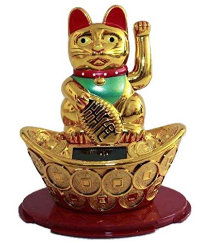 HAAC Solar Winkekatze Katze Glückskatze Glücksbringer 13 cm Farbe Gold