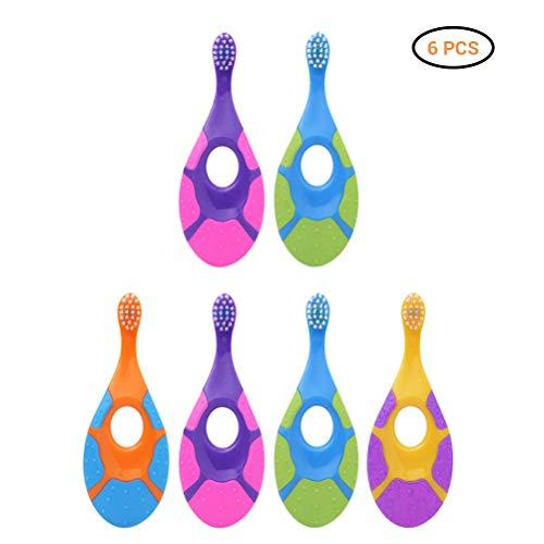 Baby Zahnbürste Step 1 mit Beißring, 0-3 Jahre, extra soft, Zahnbürsten Set 6PCS