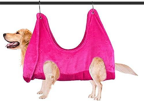 FYYYU Ayudante De Hamaca para El Cuidado Mascotas - Toalla Baño Gatos Y Perros Secar Restricción Recortar Las Uñas, Peinar, Bañarse, Lavarse Arreglarse,Rosado,S