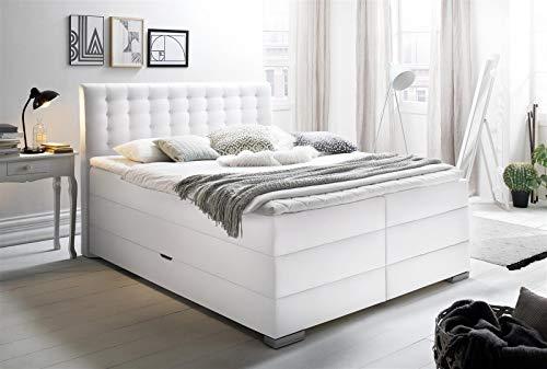 möbelando Boxspringbett Hotelbett Bett Doppelbett Ehebett Lenno weiß 160x200 cm H3