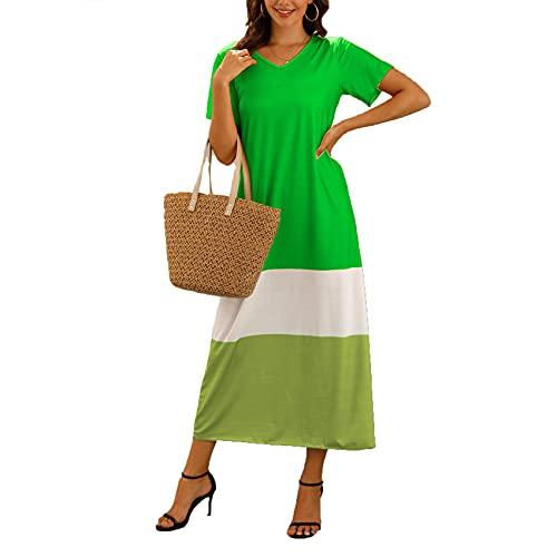 XYJD Lente en zomer vrouwen casual trui V-hals drie-kleur stiksels losse korte mouwen lange jurk vrouwen - groen - 5XL
