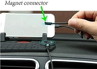 حامل جوال للسيارة قابل للتعديل مع وسادة سليكون مانع للانزلاق وشاحن جوال مغناطيسي
