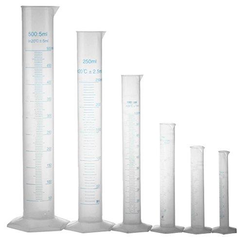 Sonline 10 25 50 100 250 500 ml graduo probeta de laboratorio DIY 6 piezas.