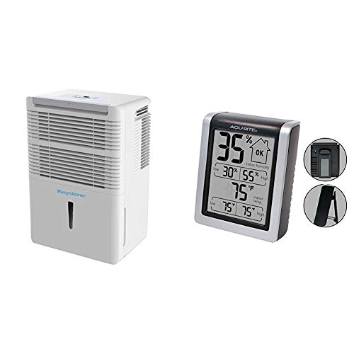 Keystone 22-Pint Dehumidifier with Electronic Controls in White, 30 & AcuRite 00613 Digital Hygrometer & Indoor Thermometer Pre-Calibrated Humidity Gauge, 3' H x 2.5' W x 1.3' D