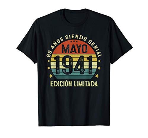 80 Años Cumpleaños Hombre Mujer Vintage Nacido En Mayo 1941 Camiseta