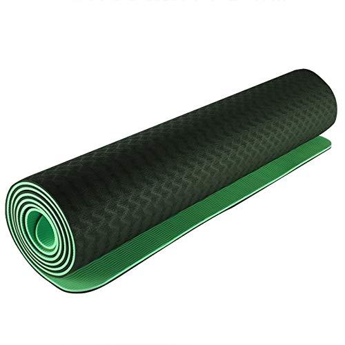 ZDSGXJQA Ampliación TPE Yoga Mat Protección Ambiental Antideslizante, Fitness Pilates Mat (Verde) De 6 Mm For Los Principiantes para Clase de Gimnasia o Gimnasio en casa
