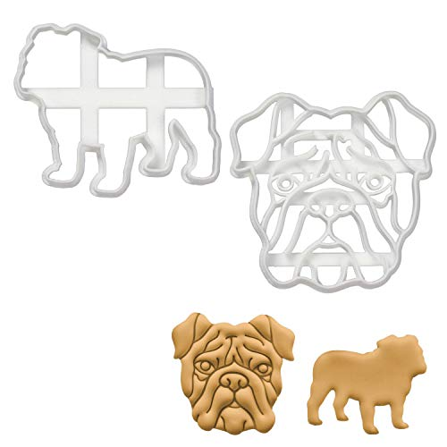 Set of 2 English Bulldog cookie cutters (Designs: English Bulldog Silhouette and English Bulldog Face), 2 pieces - Bakerlogy