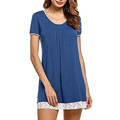 RAINED-Womens Sleepwear Short Sleeve Nightgown Sleep Shirt Dress Soft Loose Pajamas Lace Hem Solid Soft Nightwear