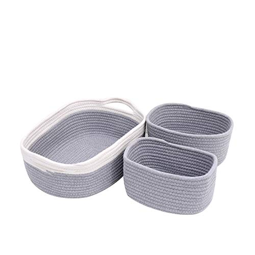 childishness ndup 3 Packs Cotton Rope Basket with Handles, Small Storage Basket Organizer Bins for Nursery Laundry, Kid's Toy, Makeup, Books, Kitchen (Grey)