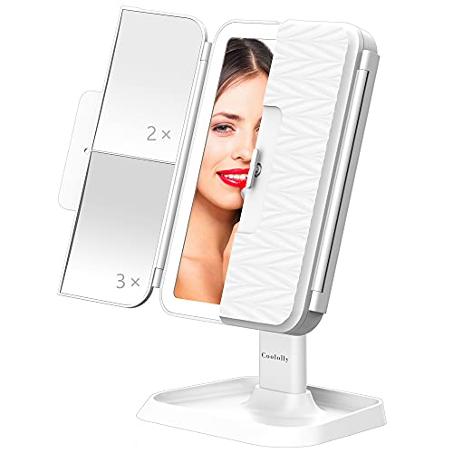 COOLOLLY Tri-Fold Lighted Makeup Mirror