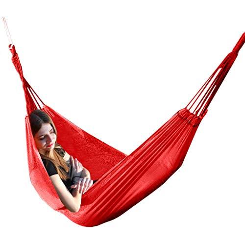 QULONG Cama de Columpio de Playa portátil Ultraligera para Acampar con Barra esparcidora de Madera Dura Cama Interior al Aire Libre Rojo