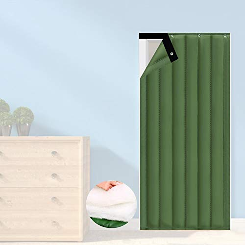 Thermal Insulated Door Curtain GGYMEI Cotton Curtain with Metal Hole Windproof Insulation Cold Indoor Bedroom Soundproof Curtain, Customizable (Color : Green, Size : 130x200cm)