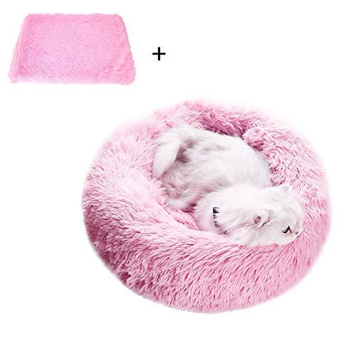 Premium rundes Plüsch-Hundebett mit Decke Donut Hundehütte weich Welpen Korb Schlaf/Ruheende Katze dick Kissen waschbar
