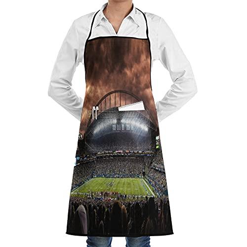 LOSNINA Delantal de cocina impermeable para hombres delantal de chef para mujeres restaurante de jardinería BBQ cocinar ,El club de silueta sobre el panorama Foto borrosa de Fan Sport en el estadio