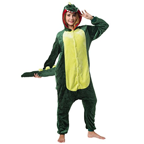 Katara 1744 - Krokodil Kostüm-Anzug Onesie/Jumpsuit Einteiler Body für Erwachsene Damen Herren als Pyjama oder Schlafanzug Unisex - viele Verschiedene Tiere