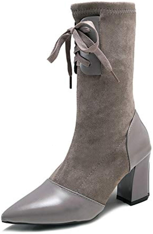 AGECC Herbst und Winter Schnürstiefel Damenschuhe Retro Martin Stiefel Damen Medium-Barrel Einzelne Stiefel mit hohem Absatz  | Maßstab ist der Grundstein, Qualität ist Säulenbalken, Preis ist Leiter