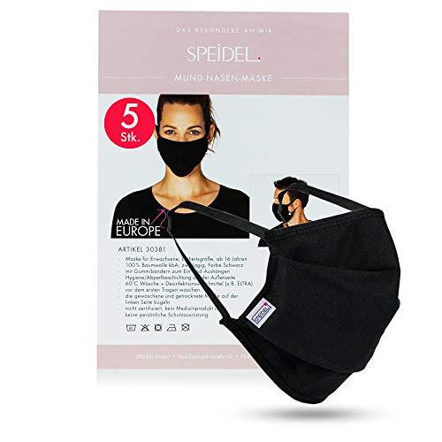 NEU: Speidel Mund-Nasen-Maske mit Abperlbeschichtung – Mundschutz waschbar, Premium Baumwollmaske Farbe: Schwarz (5 Stück)