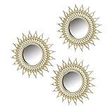 Espejos Pared Decorativos Redondos Pack 3 Uni - Espejo Ideal para Decoracion de Baño Habitación Salón Comedor Dormitorio con Aplique - Color Dorado Estilo Vintage Retro - Medidas 26 X 1,80 X 26 cm.