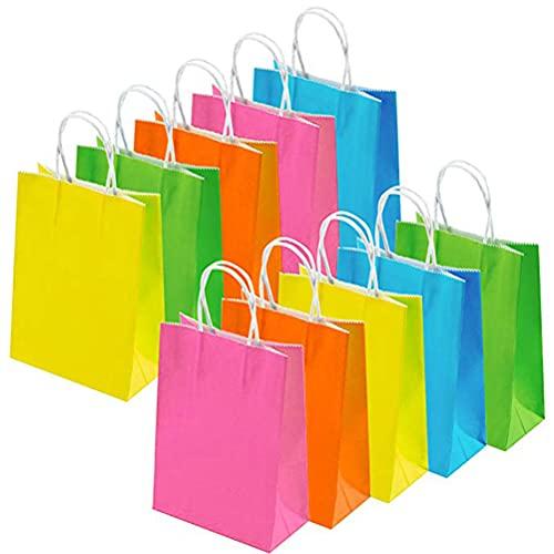 20 Bolsas de Regalo con Asa Bolsa de Compra de Papel Kraft, Bolsas de Fiesta Bolsas de Regalo de Cumpleaños para Fiestas de Navidad, Bodas, Celebraciones y Dulces, 16x21x8cm, 5 Colores
