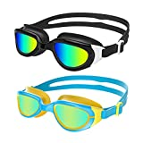 Aegend Polarized Kids Swim Goggles, 2 Pack Swimming Goggles for Boys & Girls, UV Protection, Anti-Fog, Leak Proof, Soft Nose Bridge, Free Protection Case, Fit for Youth Child Toddler Aged 3-14