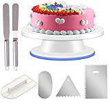 URMI Cake Turntable, Cake Rotating Plate Stand 11' Cake Decorating Equipment with 3 PCS Stainless Steel Cake Scraper 1 PCS Cake Icing Smoother and 2 CPS Icing Spatula for Baking Decorating Pastries