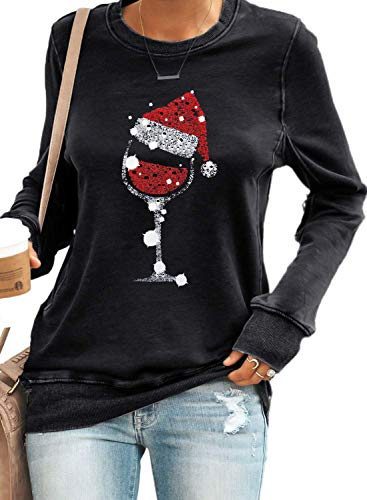 Nirovien Womens Christmas Wine Glass Long Sleeve Shirts Santa Hat Crewneck Sweatshirt Solid Tunic Pullover(Black,L)