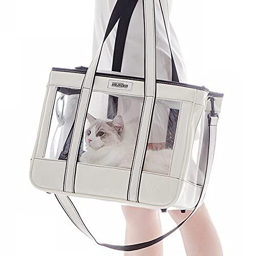WILDEDEN Bolsa de transporte de mascotas de cara suave aprobada por aerolínea, plegable, 15 libras para gatos medianos y perros pequeños, cuenco plegable para mascotas (blanco rozo)