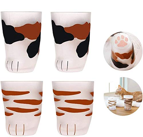 Katzenpfoten-Tasse, Milchglas, Milchglas-Tasse, niedliche Katzenpfoten-Aufdruck, Tasse für Kaffee, Kinder, Milchglas, Becher, Persönlichkeit, Frühstücks-Milchbecher 4 Stück, Farbe 1 + Farbe 2