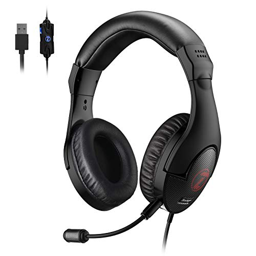 Soutege Gaming Headset, 7.1 Surround Sound PC Headphone, Detachable Microphone, ENC Noise-Cancelling Mic, USB Connect Headphones for PS4, PC PS5-G100 PRO