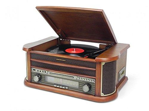 Soundmaster NR540 Nostalgiecenter UKW MW Radio Plattenspieler (33/45/78) CD-MP3 USB Kassette 75 Ohm Antennenanschluss Encoding (Aufnahme von Platte/CD/Radio auf USB/SD möglich)