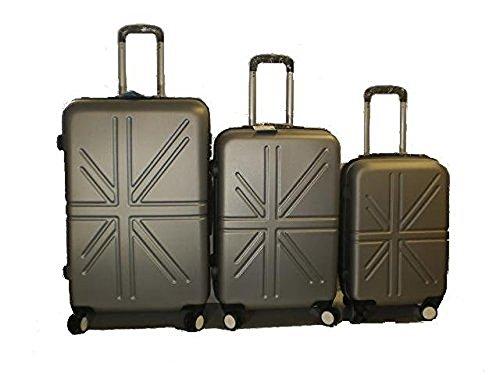 Set 3 Trolley rigide in ABS e policarbonato 4 ruote piroettanti colori vari (Grigio)