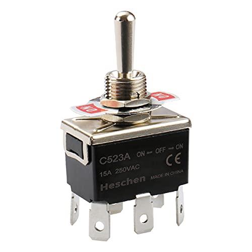 Heschen Interrupteur à bascule en métal C523A DPDT maintenu ON/OFF/ON 3 positions 15 A 250 VAC 6 onglets terminal CE