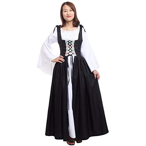 GRACEART Mujer Vestido Renaissance Ropa con Volantes Vintage Medieval para Retro Cuello Cuadrado Disfraz (L, Negro)