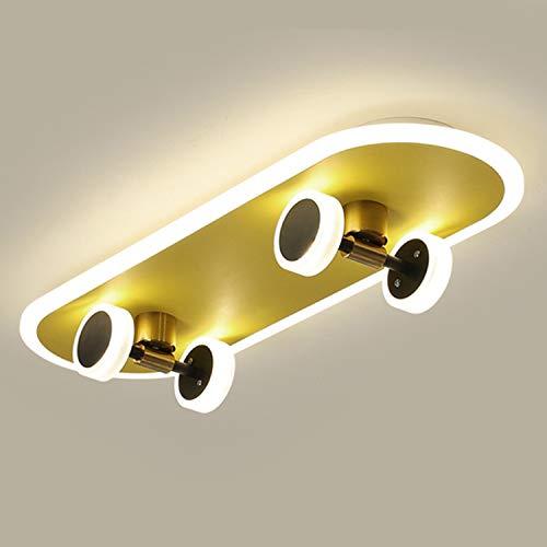 LED Cartoons Skateboard Deckenleuchte, Dimmbar 32W - Mit Fernbedienung Deckenlampe, 2900 Lumen, Metall/Acryl, Kinderzimmer Lampe, Deckenbeleuchtung für Junge Kinderzimmer