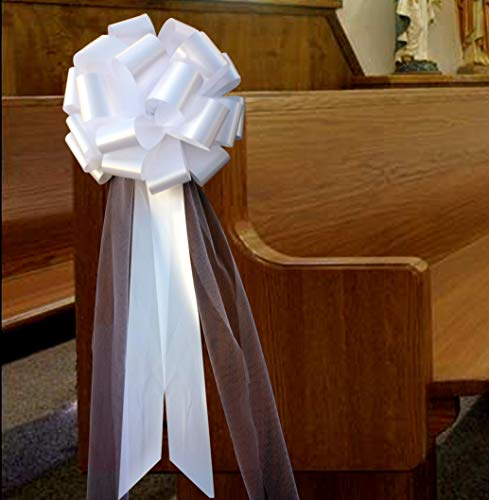 Large White Wedding Pull Bows with Long Tulle Tails - 9' Wide, Set of 6, Wedding Pew Bows, Mother's Day, Valentine's Day, Aisle Decor, Reception, Large Christmas Bow, Wreath, Anniversary
