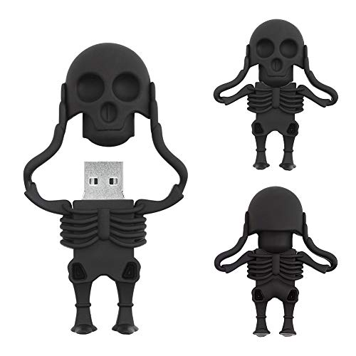 32GB Chiavetta USB a Forma di Scheletro di Cartone Animato.BorlterClamp Pen Drive Sorprendente Regalo per Studenti e Bambini (Nero)