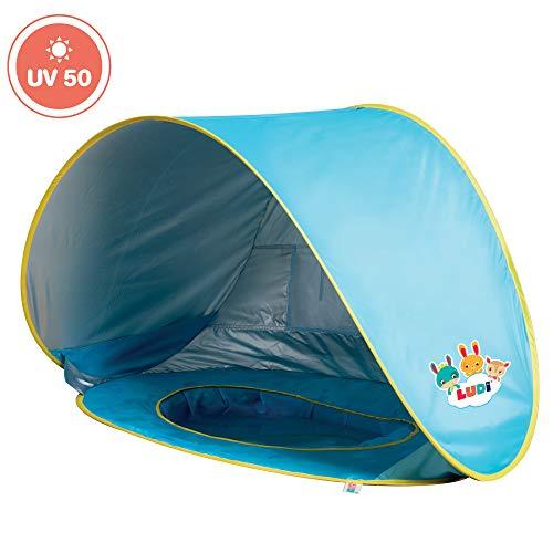 Tente et piscine pop-up par Ludi | en tissu avec protection UV 50 – dès 10 mois – tente...