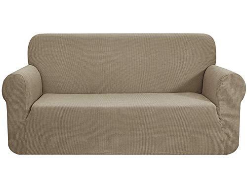 E EBETA Funda de sofá, Tejido Jacquard de poliéster y Elastano, Funda de Clic-clac elástica Cubiertas de sofá de 3 Plaza (Color Arena, 185-235 cm)