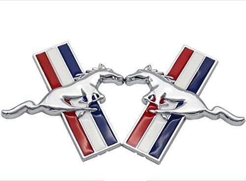 tazimall 3D Metall Auto Seite Emblem Logo Mark Aufkleber Badge für Ford Mustang Running Wild Horse Aufkleber Set von 2 One Size Merhfarbig