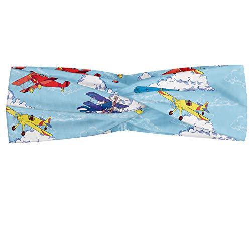 ABAKUHAUS Vintage Vliegtuig Hoofdband, Sketch Planes, Elastische en Zachte Bandana voor Dames, voor Sport en Dagelijks Gebruik, Veelkleurig