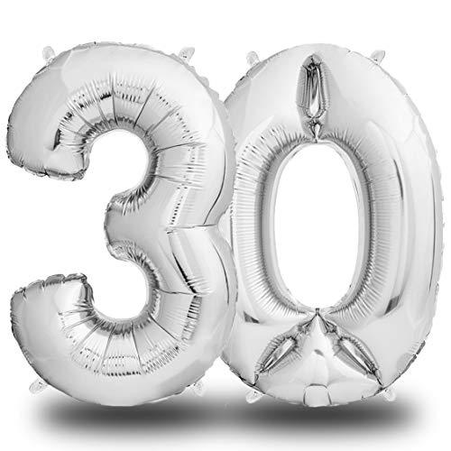 Folienluftballon Zahl 30 Silber - 100 cm
