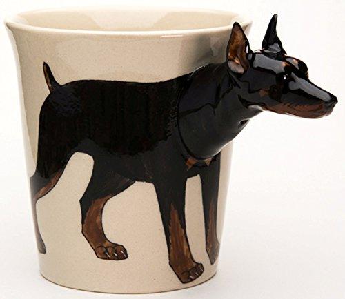 b2see Dobermann Tasse Keramik Hunde Tasse als Geschenk für Hundebesitzer Dobermann 14 x 15 x 10 cm