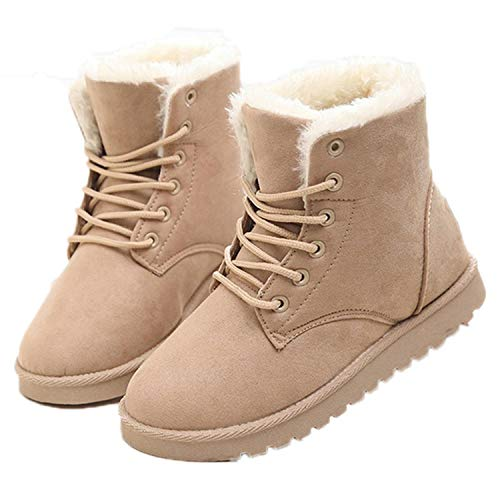 Boots Plush Insole Snow Boots Ankle Boots Lace-Up Women Boots Flock Beige 9.5